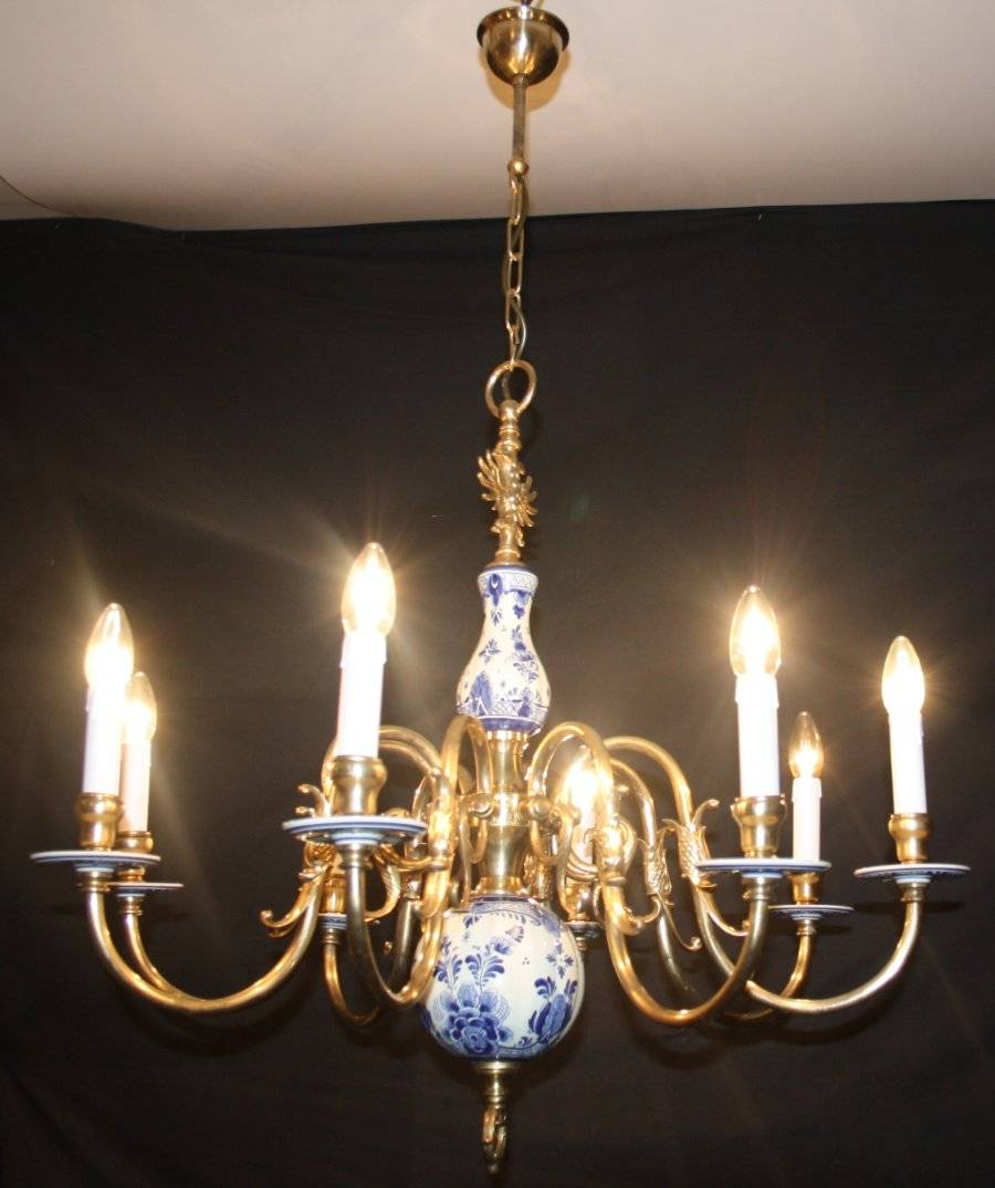 Vintage 8arm Delft Chandelier Brass Ceramic Blue White Ceiling Light With Fish Features On The Arms