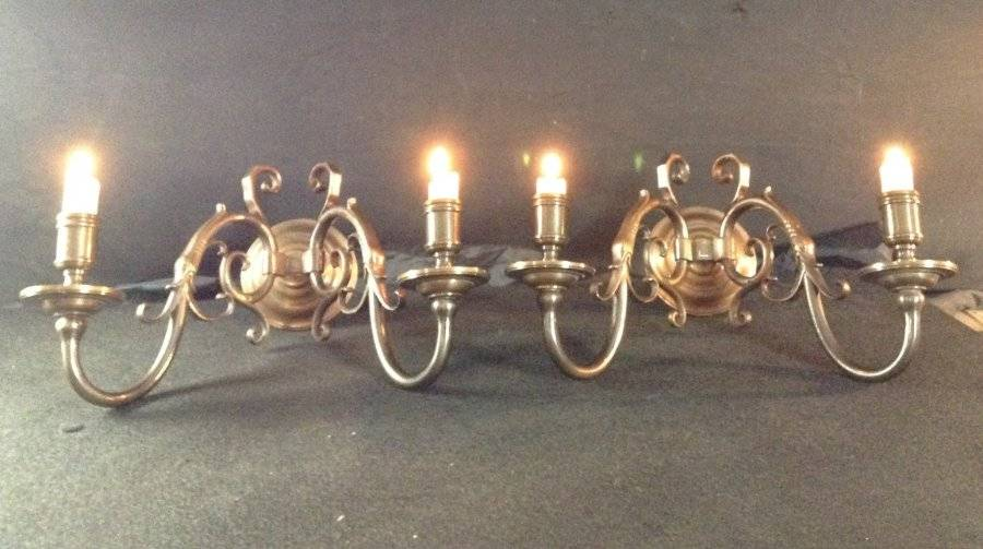 Admirable Vintage Pair Of Large Flemish Wall Lights Two Aged Brass Sconces For Wiring Digital Resources Bioskbiperorg