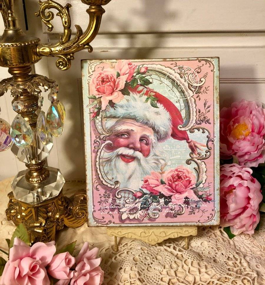 Handcrafted Plaque #1 Pink Retro Santa Shabby Cottage Style