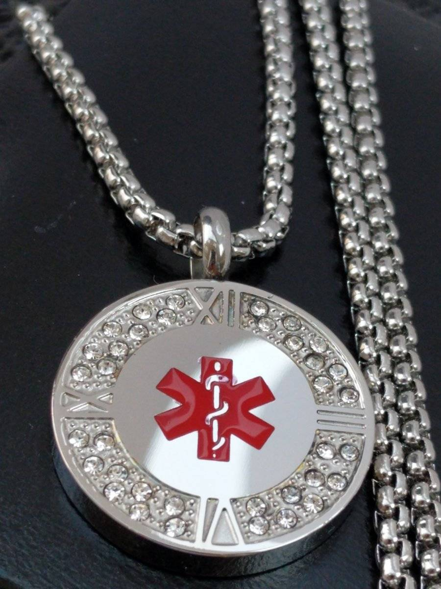 Ladies Stainless Steel Life Saving Medical Alert Sos Cz