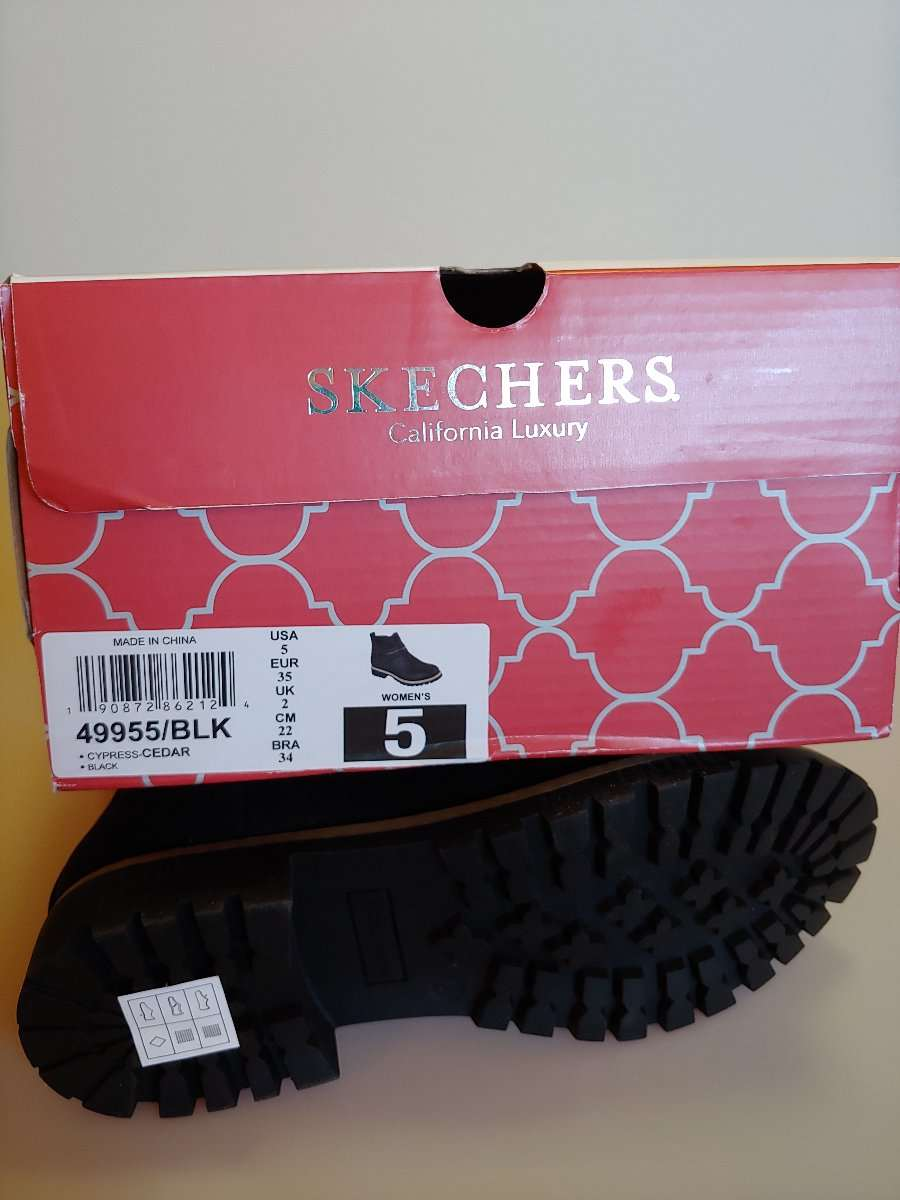 Details about New in Box Women's Black Skechers Cypress Cedar Ankle Boots (49955BLK) Size 5