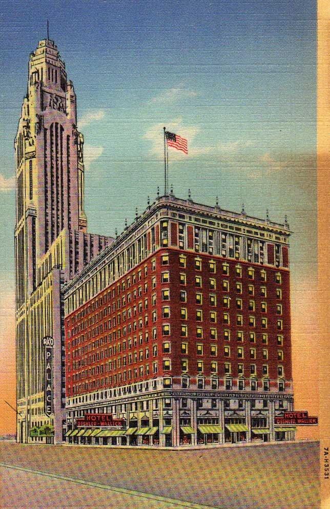 1935 LINEN POSTCARD, DESHLER WALLICK HOTEL, RKO THEATRE