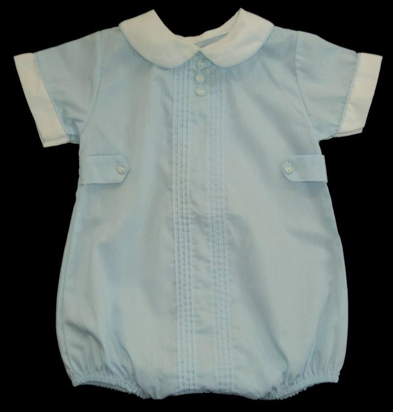 409d80ce9d Details about Boys PETIT AMI Blue Pintucked Bubble Romper 6m Onepiece  Portrait Outfit Shortall
