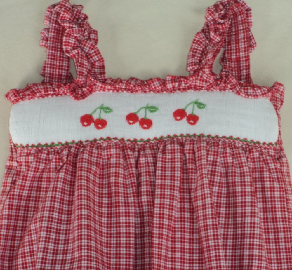 5d81c658f94b This is a stunning bubble by the boutique brand  House of Hatten . Red  plaid bubble romper with  Cherry  smocking across chest. Ruffled shoulder  straps.
