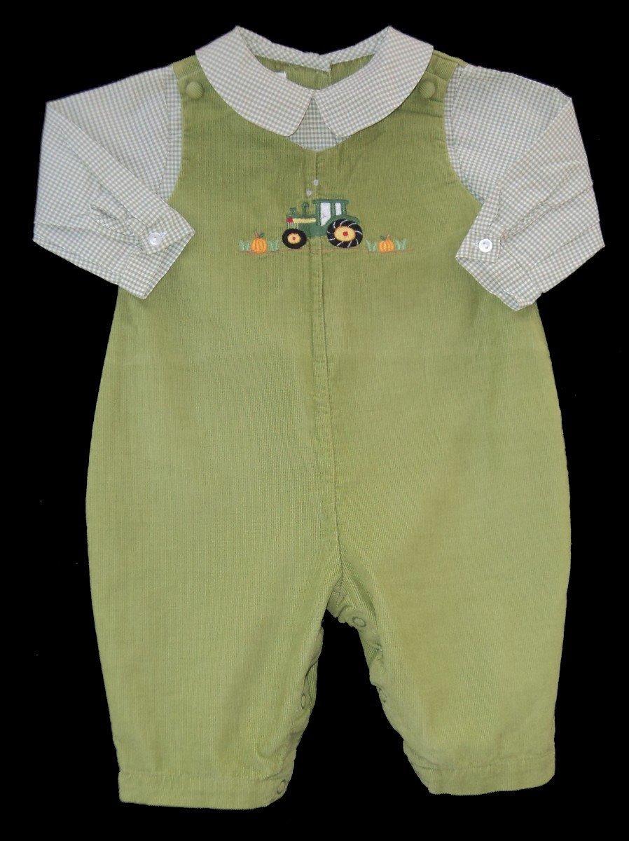 25d353261 Boys PETIT AMI Corduroy Embroidered TRACTOR PUMPKIN Romper 3m ...