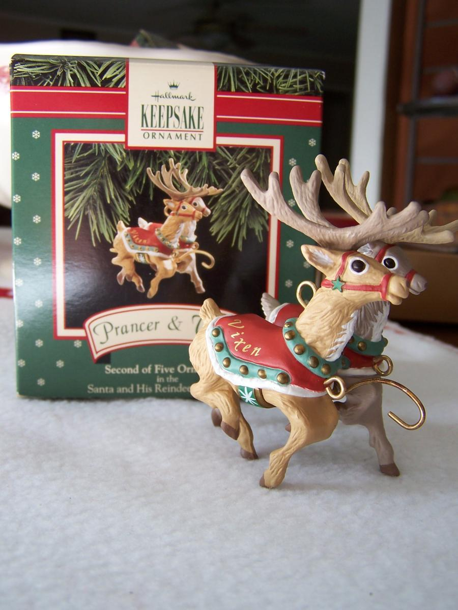 1992 Santa and His Reindeer Collection Prancer and Vixen Hallmark Keepsake Ornament Second of Five Ornaments in the Set