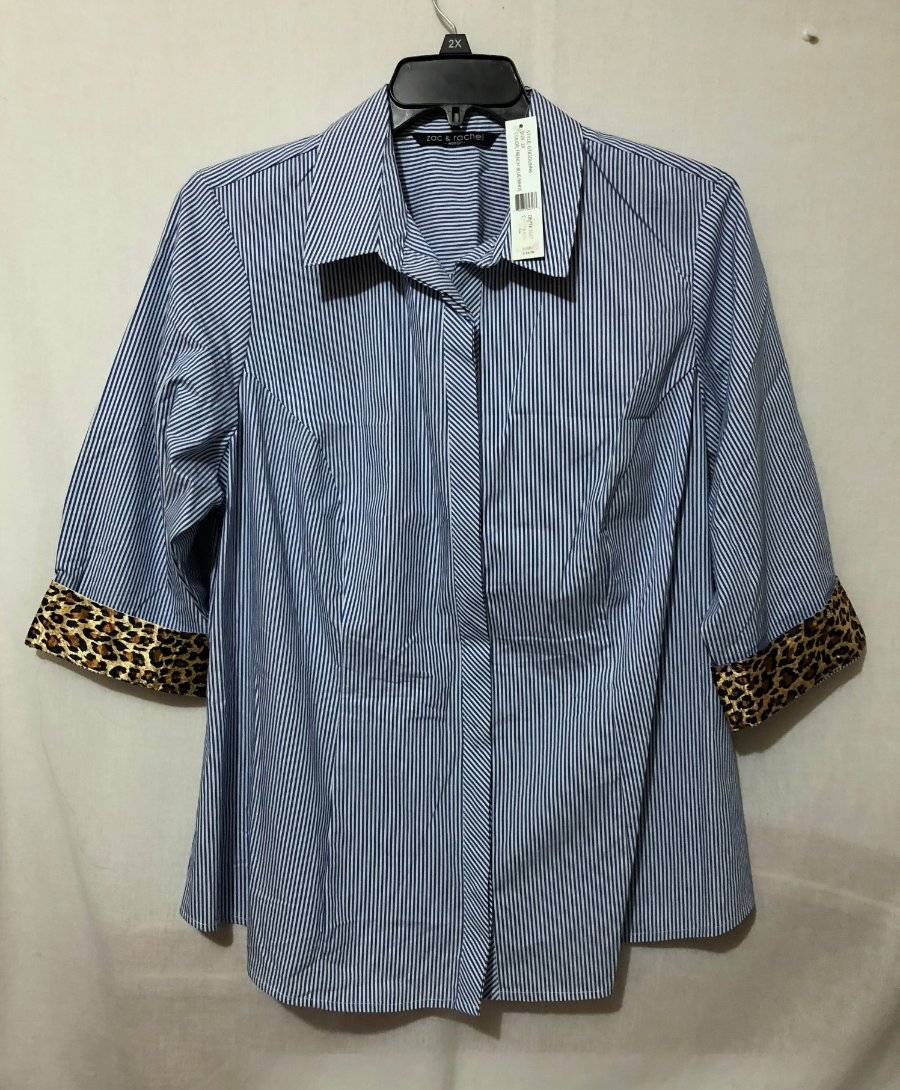 6c59fd4ad15 NEW NWT Womens size 2x Zac   Rachel Woman button down 2 3 sleeve ...