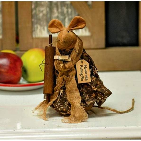 Primitive`Standing `Mouse Doll`with Rolling Pin`Clothes Pin and Rustic Star