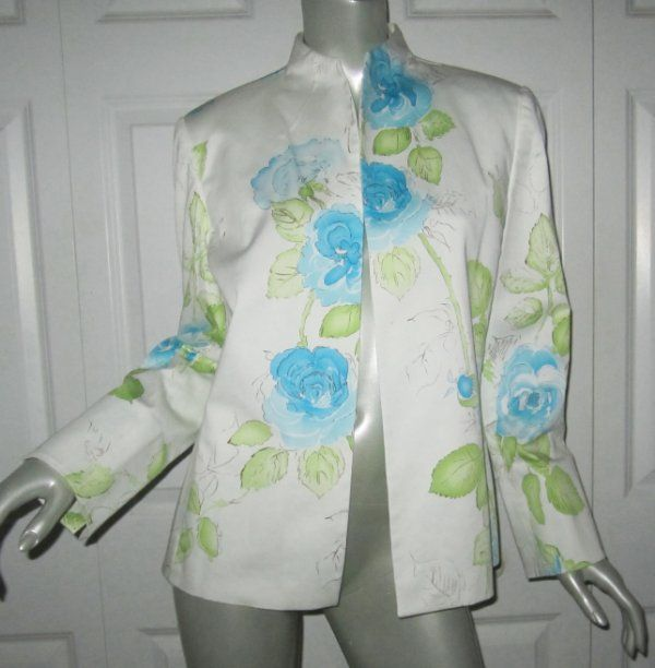 Austin Reed White Lined Blue Green Floral Jacket Size 14 Ebay