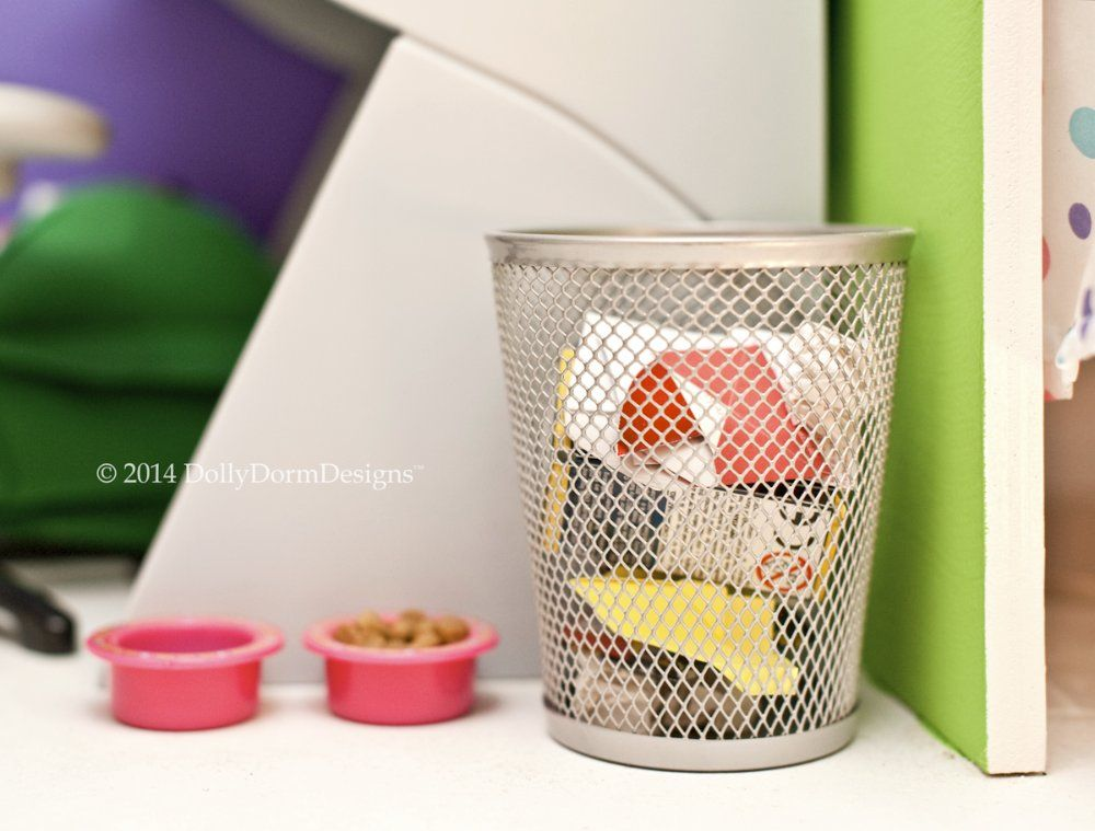 Silver Waste Basket Trash Can For American Girl Doll House