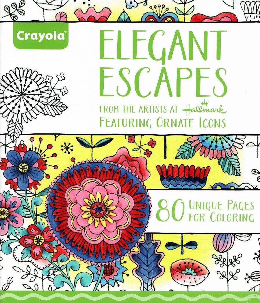 Hallmark Crayola Adult Coloring Book Elegant Escapes Ornate Icons Ebay