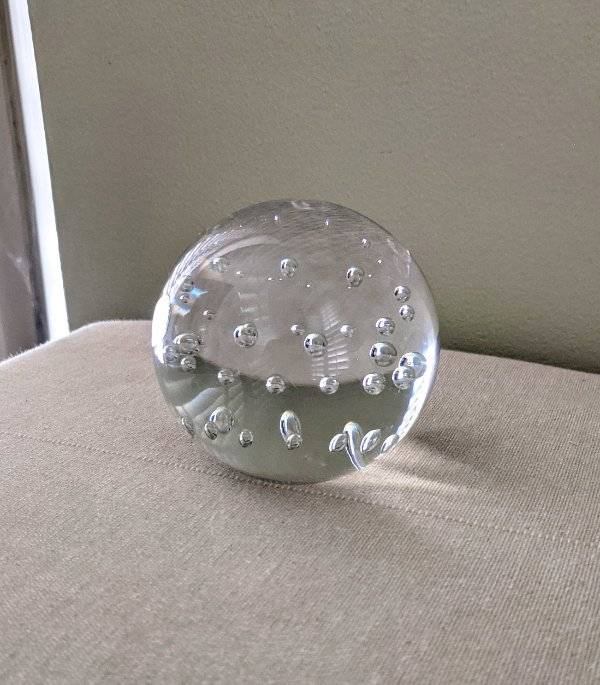 Vintage Paperweight Glass Clear Bubbles  with White Swirls FREE SHIPPING