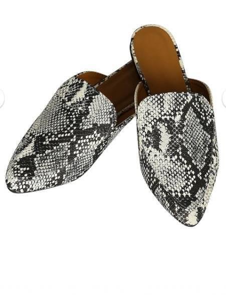 Snakeskin mules slides black /& white Qupid Swirl