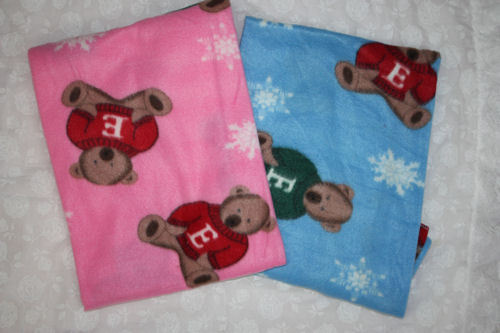 Baby Blanket for Reborns With Teddy Bears Blue and Pink SALE