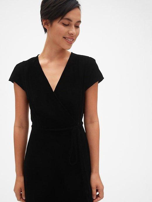 25d08729eaf NEW GAP S True Black Velvet Midi Wrap Dress Small 4 6