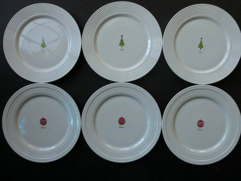 Lot of Lenox Tin Can Alley Plates & Lot of 6 Lenox Tin Can Alley Plates Christmas Tree Joy Ornament ...