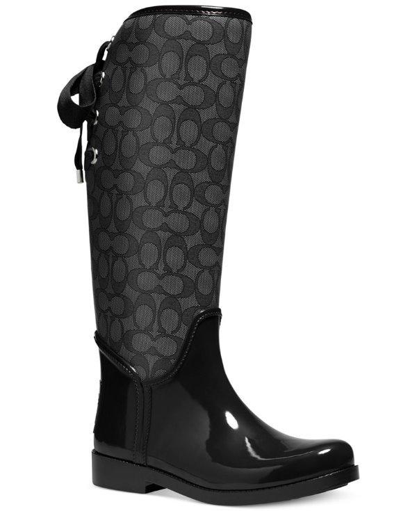 New Coach Women Sig Tristee Rubber Coated Rainboot Boots