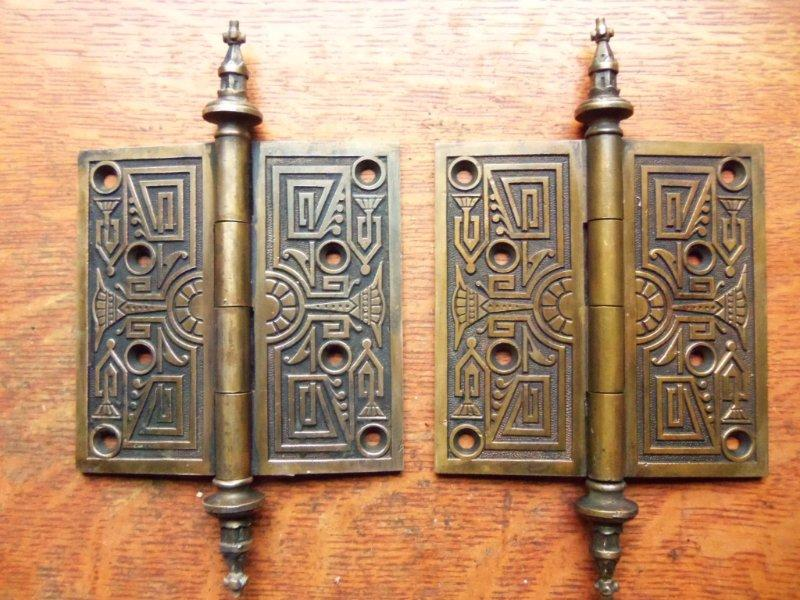 These Two Beautiful And Large Antique Door Hinges Were Made By P. And F.  Corbin. The Rare Identifying Marks On The Backs Reveal The Date Of  Manufacture ...