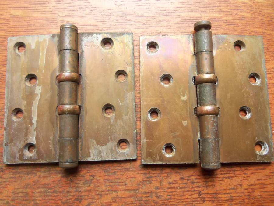 These Two Cool Antique Door Hinges Were Made In The Early 20th Century.  Brass Plated Steel And With Industrial Thrust Bearings, They Have Light  Wear And Are ...