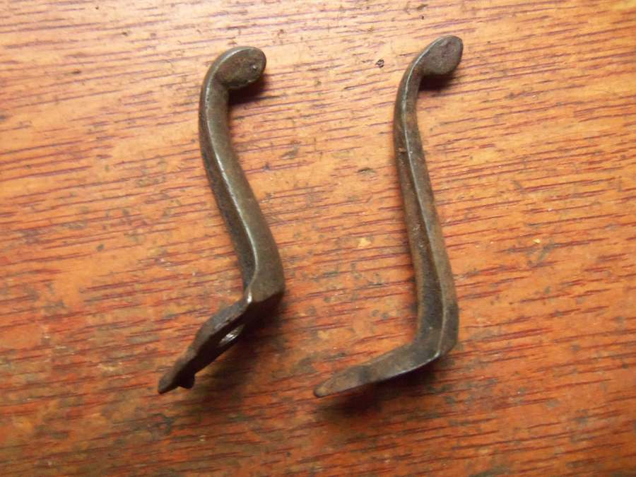 Two Antique Victorian Hand Wrought Iron Hat Or Coat Hooks