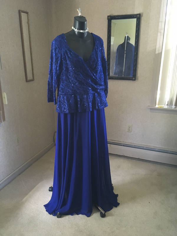 Details about Magnificent cobalt blue royal mother of the bride plus size  gown dress 2XL