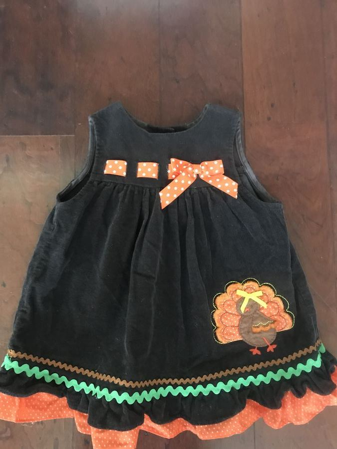 """NEW /""""TURKEY STRIPES/"""" Thanksgiving Day Dress Girls 24m Fall Clothes Outfit Baby"""