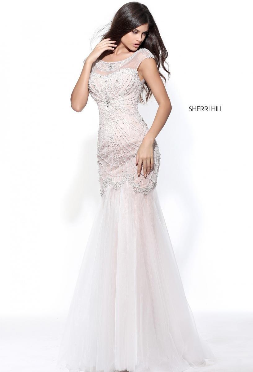 Sherri Hill 51046 Ivory Nude Wedding Prom Pageant Gown Dress sz 2