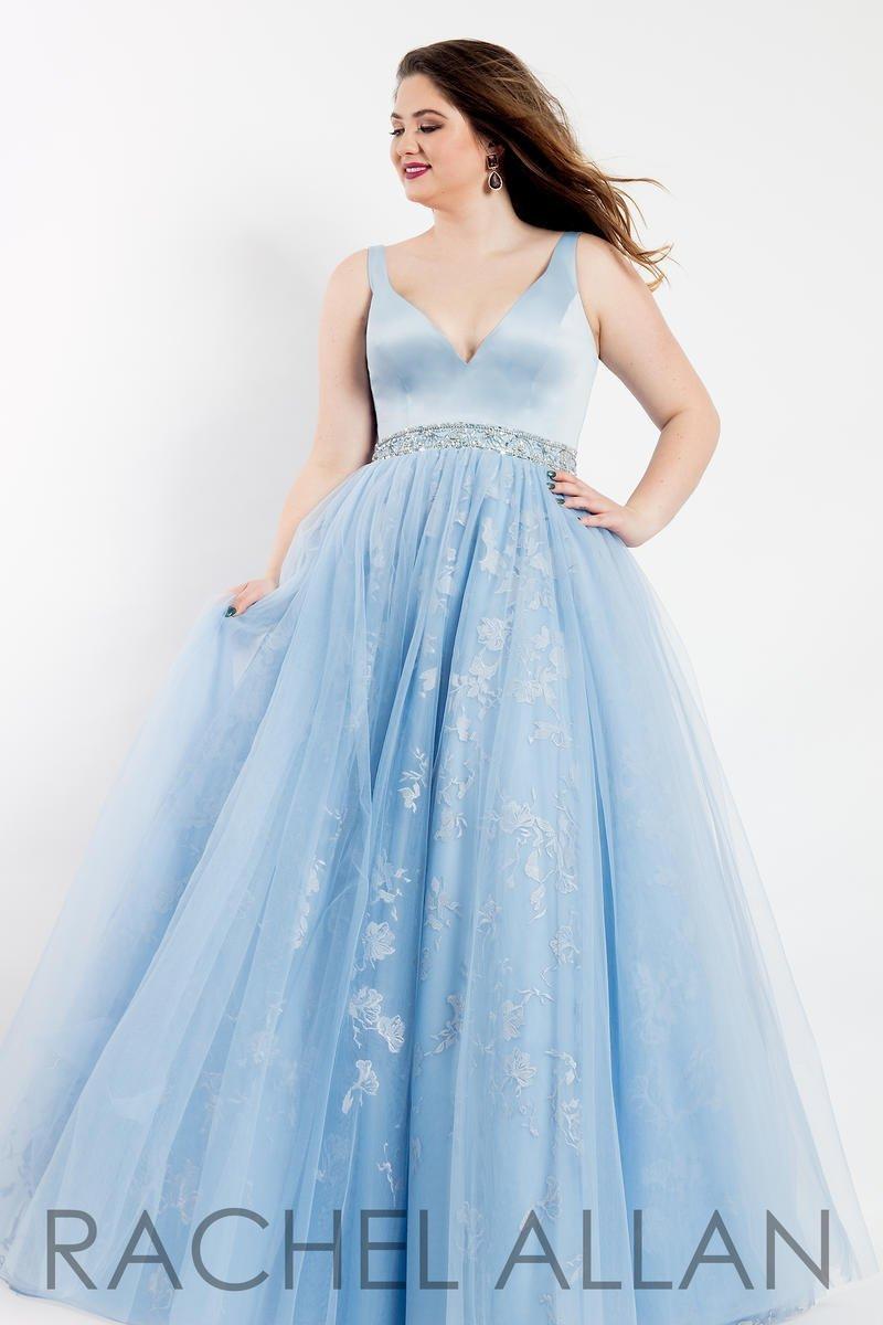 Rachel Allan 6304 Sky Blue Ball Gown Dress sz 14W | eBay