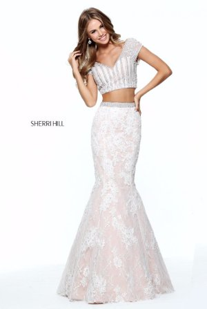 Sherri Hill 51011 Light Blue Crop Top Lace Pageant Prom Gown Dress ...