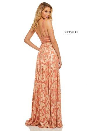 2d07e5945626 Sherri Hill 52474 Coral Gold Prom Gala Gown Dress sz 4   eBay