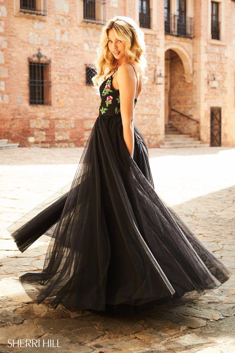Sherri Hill 52050 Black Multi Stunning Gala Prom Gown Dress sz 12 | eBay
