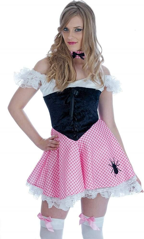 Femme Rose Little Miss Muffet Nursery Rhyme Monde Livre Jour Costume Robe Fantaisie