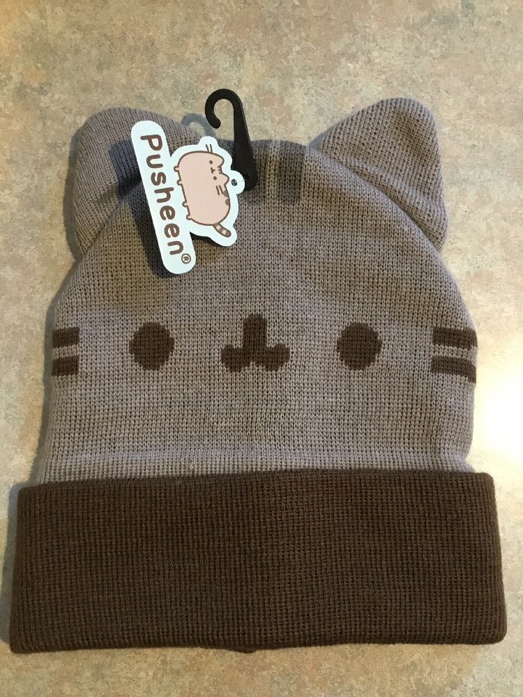 c56d675871a New PUSHEEN The Cat Face Unisex Cuffed Beanie With Ears - Gray - One ...