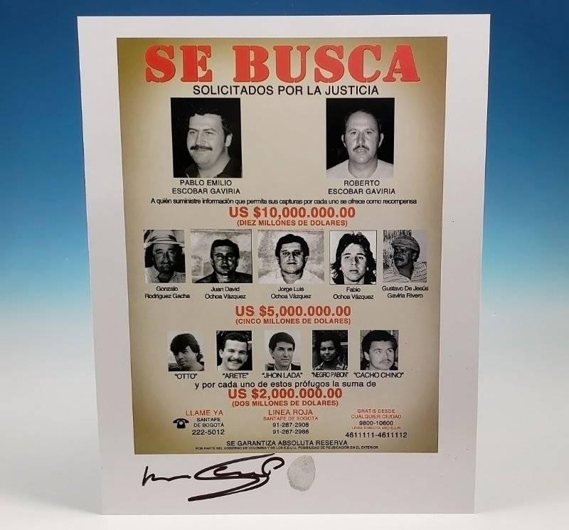 Roberto Escobar Autograph Fingerprint 8X10 Wanted Poster