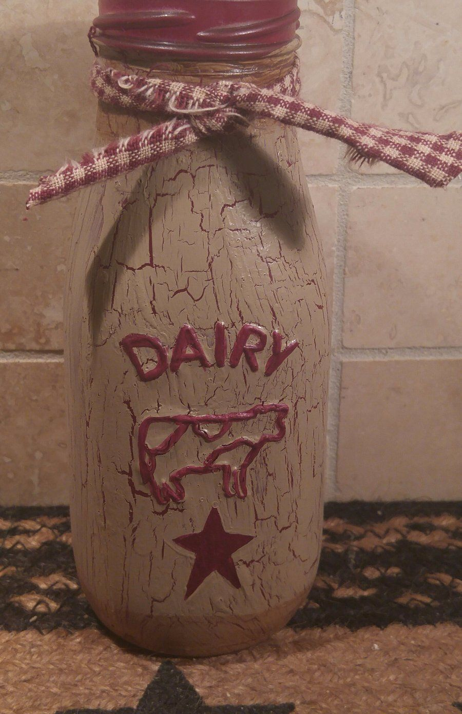 Details About Primitive Le Tan Burgundy Star Gl Milk Bottle Country Farm Decor