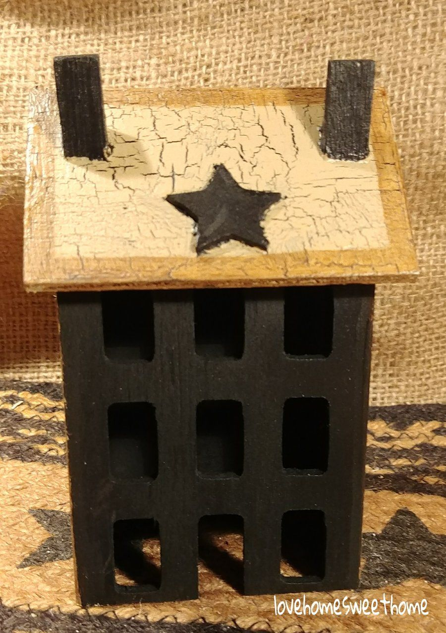 Primitive Crackle Tan Black Stars Wood Saltbox House