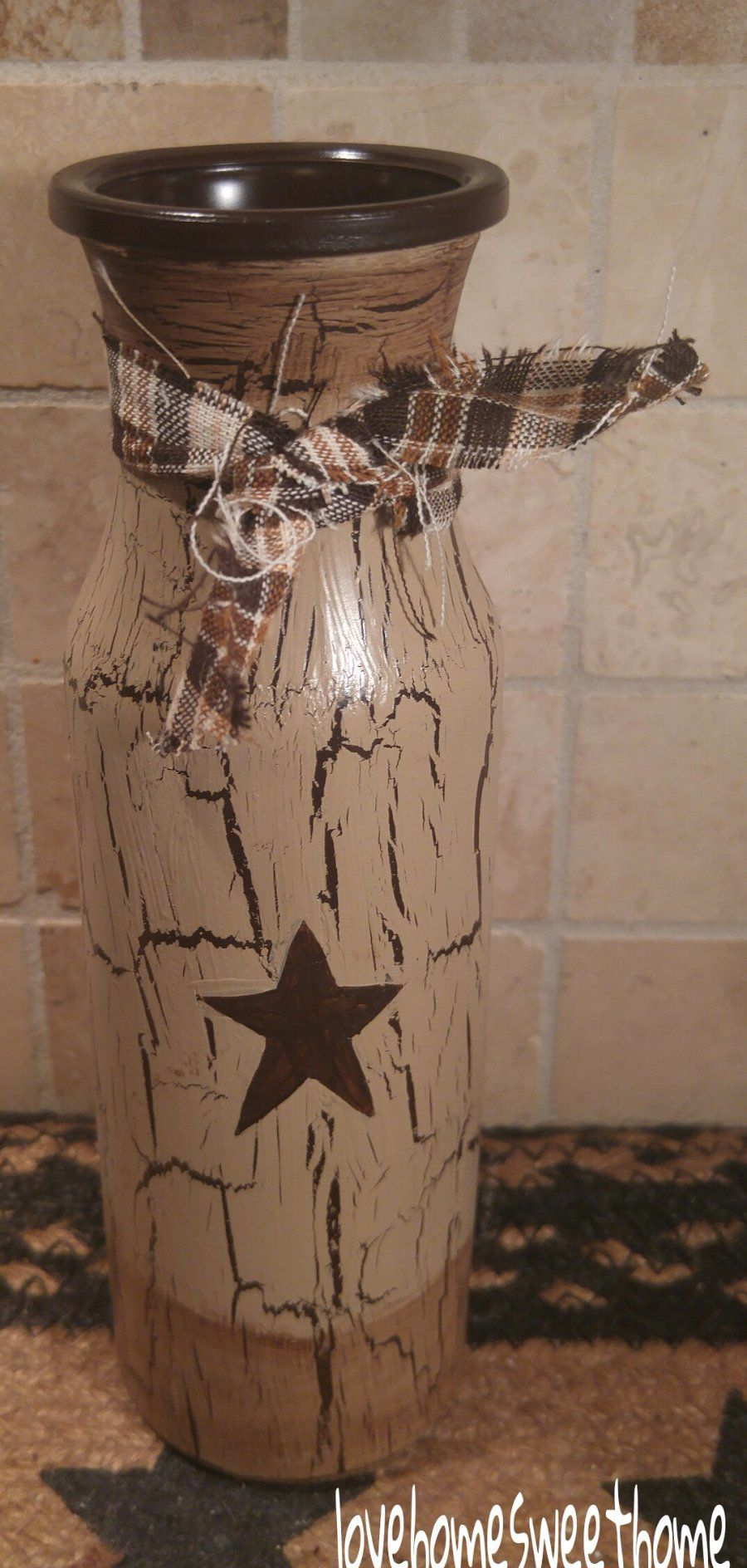 Primitive Crackle Tan /& Brown Star Glass Milk Bottle  Country Farm Decor