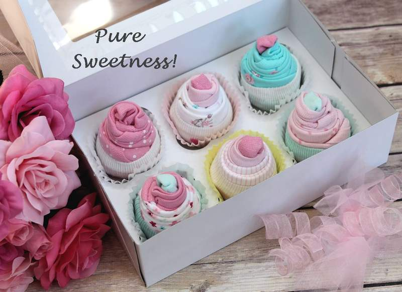 New  Outfit Cupcakes, Baby Cupcakes, Baby Girl Shower Set, Gift Basket  Ebay-5479