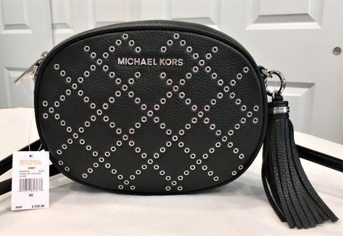 9533e852eda2 Michael Kors Ginny Studded Medium Crossbody Black Silver Hardware ...