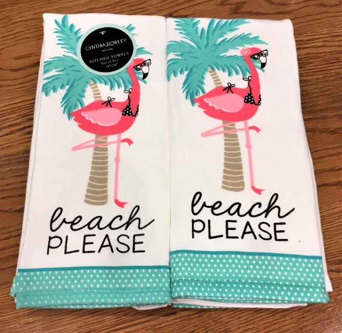 Details about Set of 2 Cynthia Rowley BEACH PLEASE Kitchen Towels Pink  Flamingo & Palm Tree