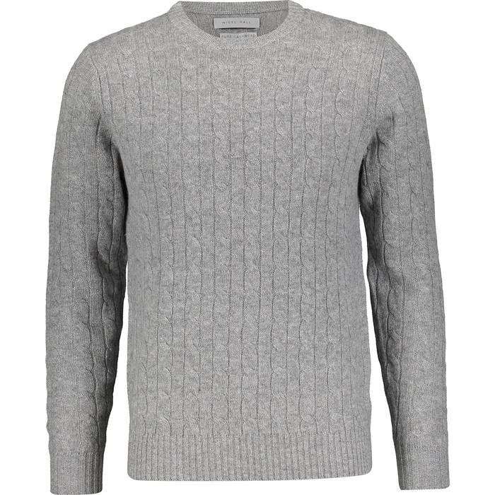 New Nigel Hall Mens Grey Cable Knit 100 Cashmere Jumper Bnwt 265