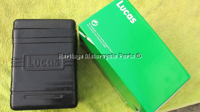 authentic new LUCAS black flexible rubber BATTERY BOX for classic motorcycles