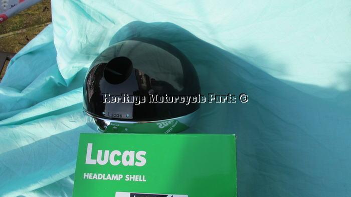 "new genuine Lucas 7/""  BLACK HEADLIGHT SHELL+CHROME RIM+1 WIRING HOLE authentic"