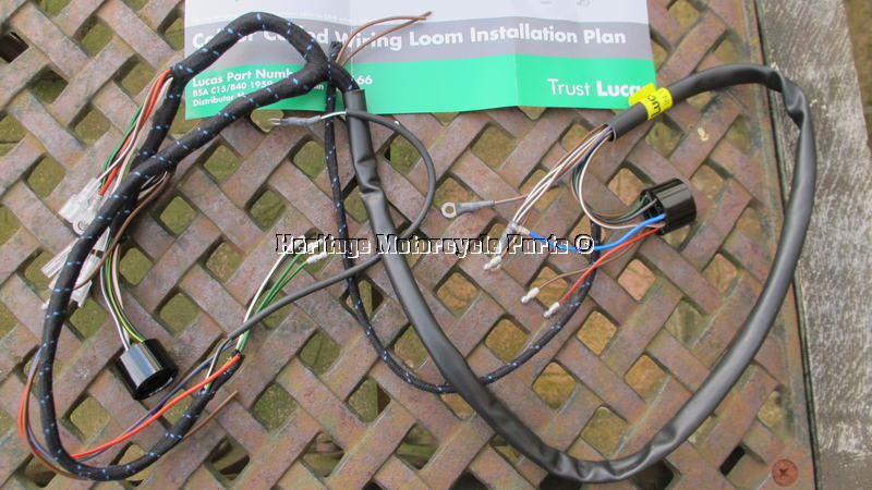New Cloth Bound Lucas Wiring Harness Bsa C15 B40