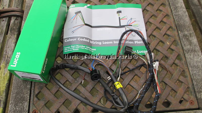 Wiring Diagram Colour Coding : New cloth bound lucas wiring harness bsa c15 b40 distributor mdls