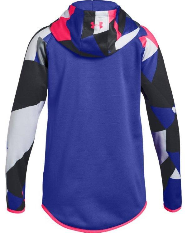 530 Youth X-Large Under Armour Girls Double Knit 1//2 Zip //White Constellation Purple