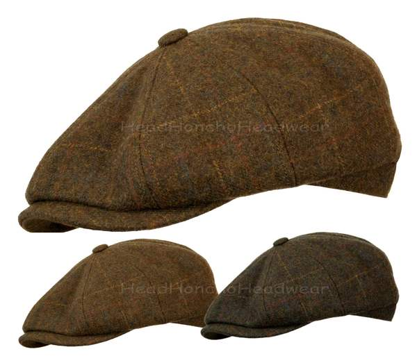 2fc796fd3fa Wool Tweed Gatsby Plaid Newsboy Cap Driving Golf Cabbie Ivy Flat ...