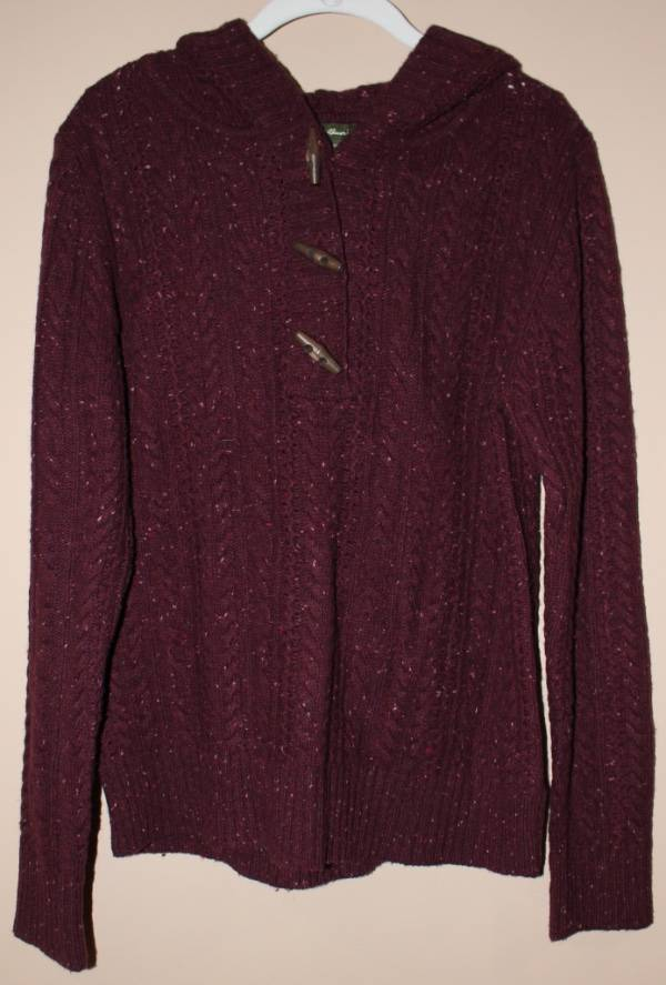 Woods /& Gray lambswool cashmere Red button down cable knit sweater women/'s M
