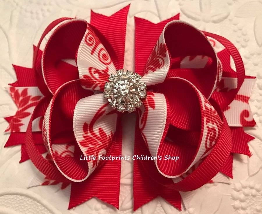 """Patriotic Red White Blue and Silver Jeweled Hair Bow 4 1//2/"""""""
