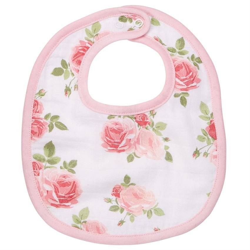 Mud Pie Garden Rose Floral Bella Muslin Bib Set of 2